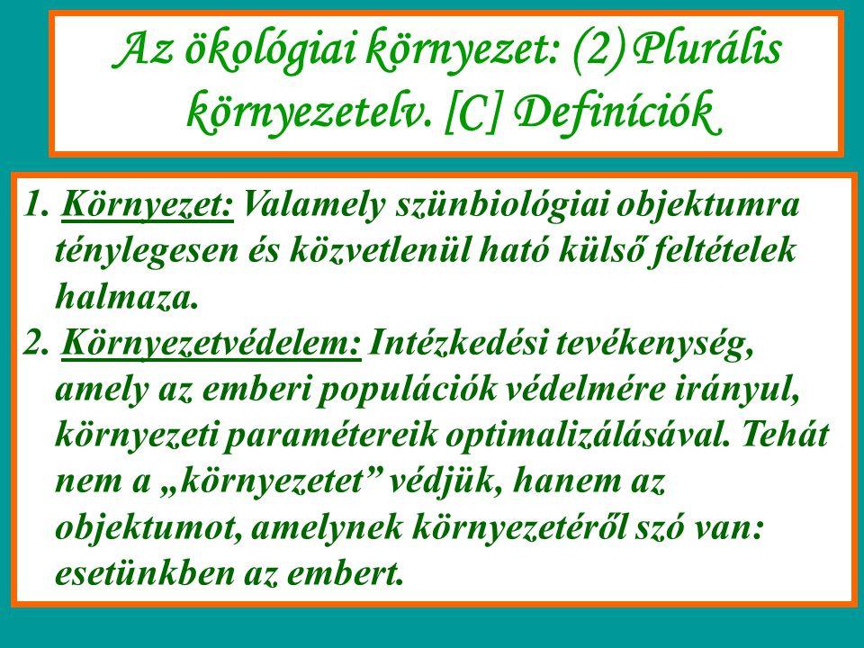 Az ökológiai környezet: (2) Plurális környezetelv. [C] Definíciók